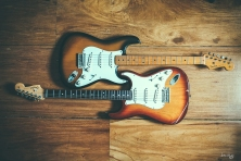 Fender USA 1957 Stratocaster Vintage Reissue in 2 tone sunburst and a 2014 Fender USA American Standard Stratocaster in Siennaburst